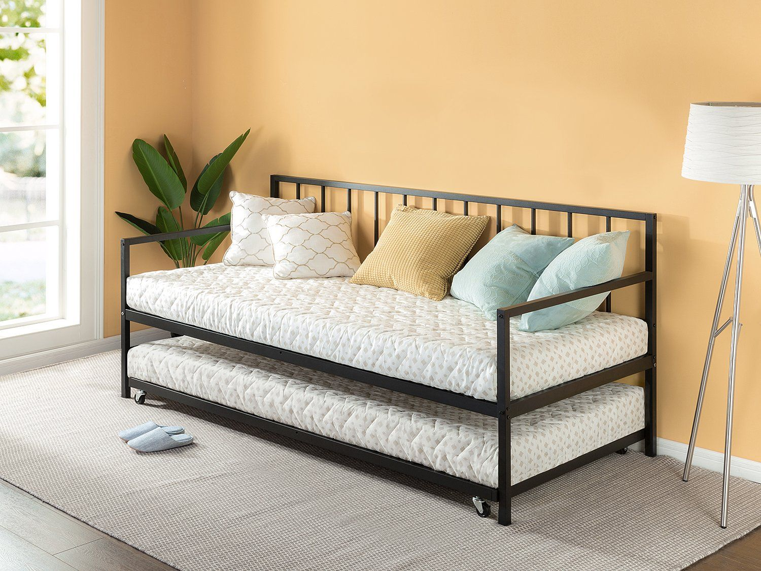 Zinus newport twin daybed and trundle set premium steel slat