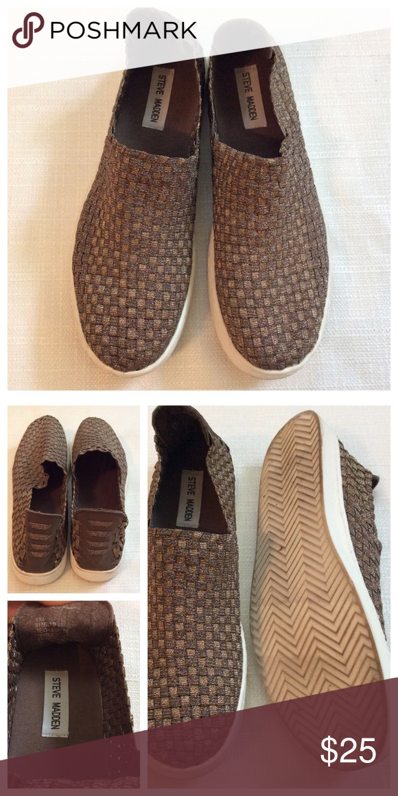 55c1977aedc Steve Madden Exx woven sneakers Comfortable woven slip on sneakers in a  metallic bronze color