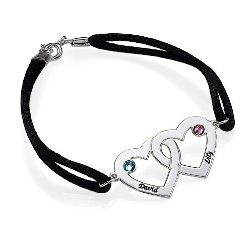 Personalized Engraved Swarovski Birthstone Couples Crystal Heart Sterling Silver Charm Bracelet