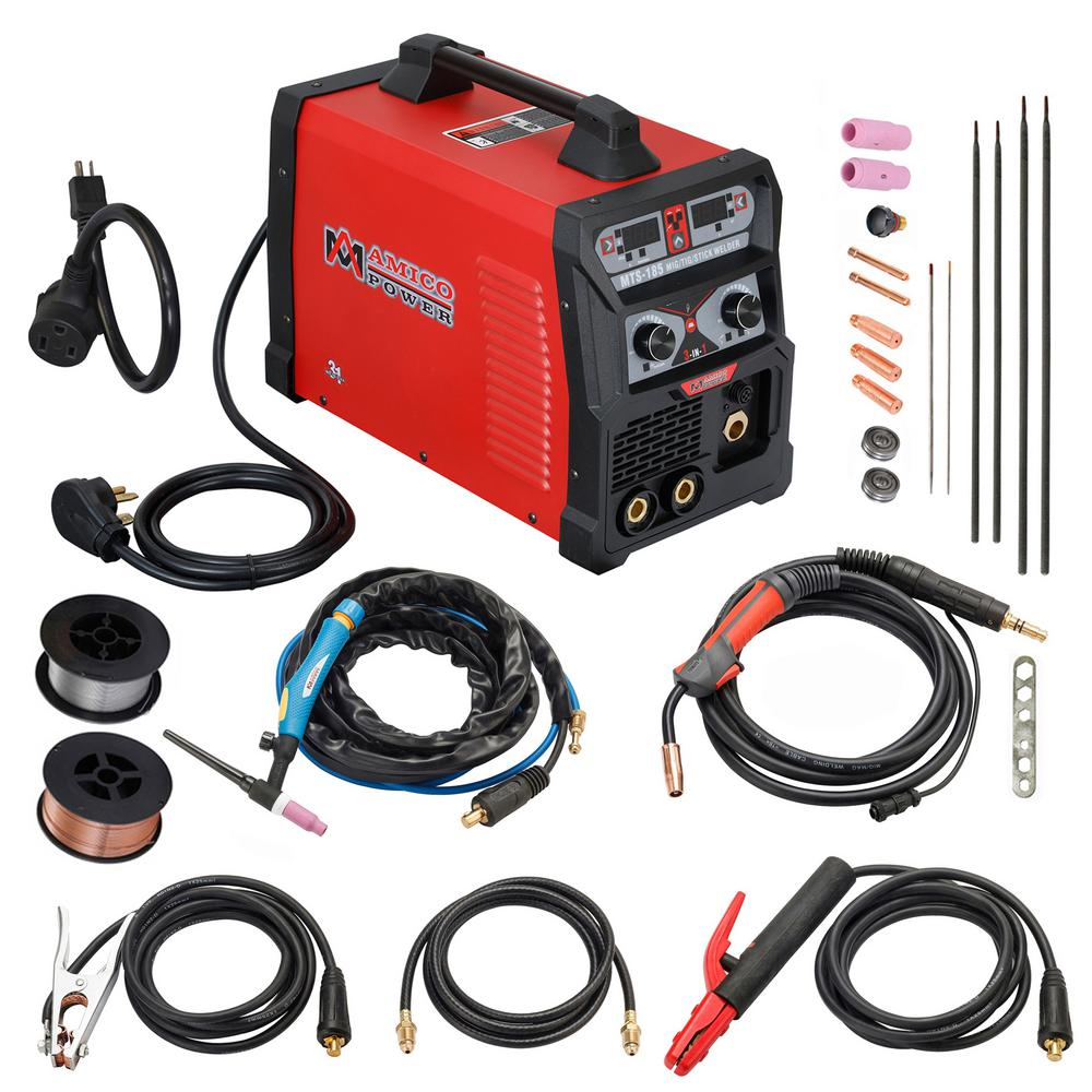MTS-185 Amp Multiprocess Welder Flux Cored TIG 3-in-1 MIG Stick Arc Welding