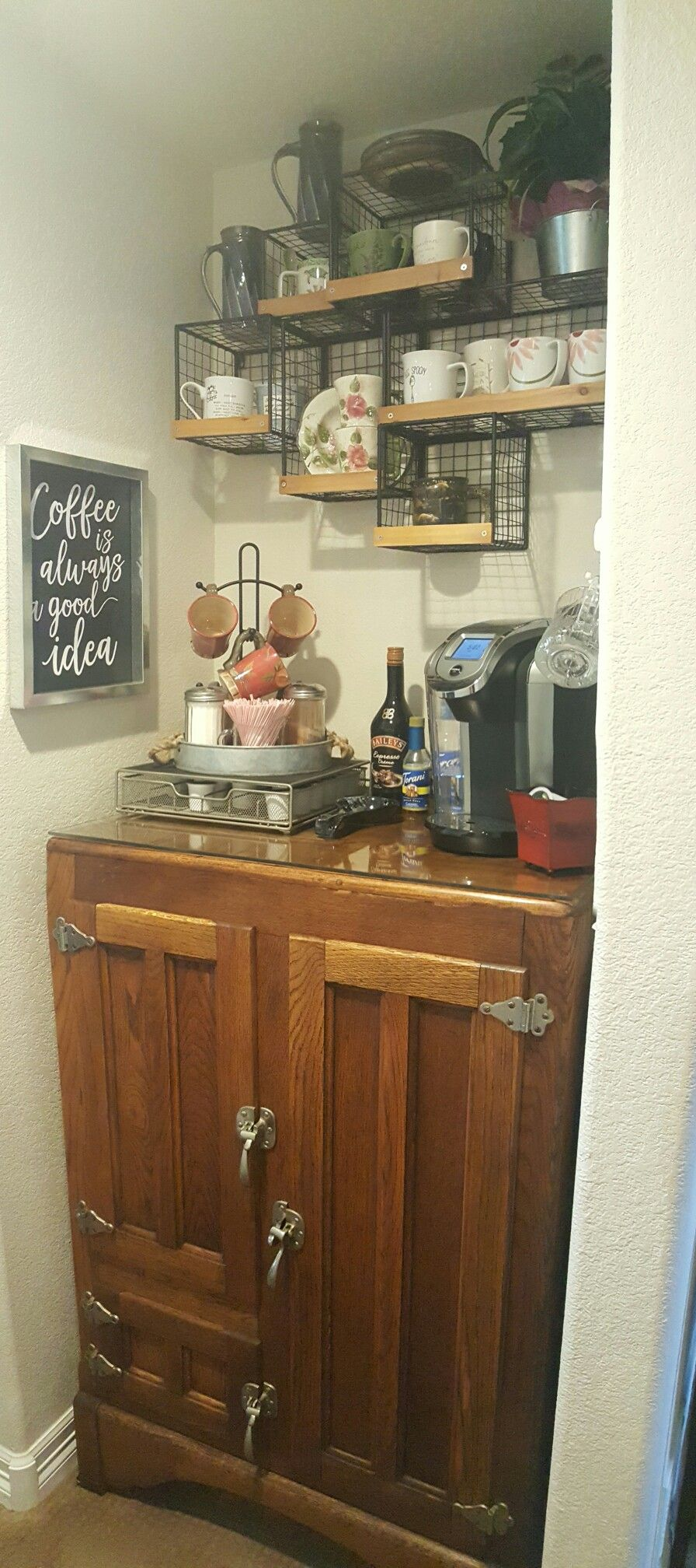 Antique Ice Box I Repurposed As A Coffee Bar I Love It