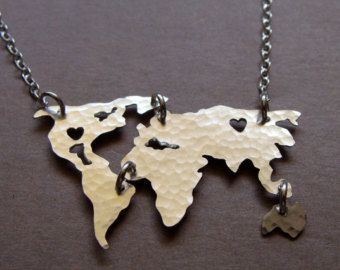 World map necklace gifts pinterest world map necklace gumiabroncs Gallery