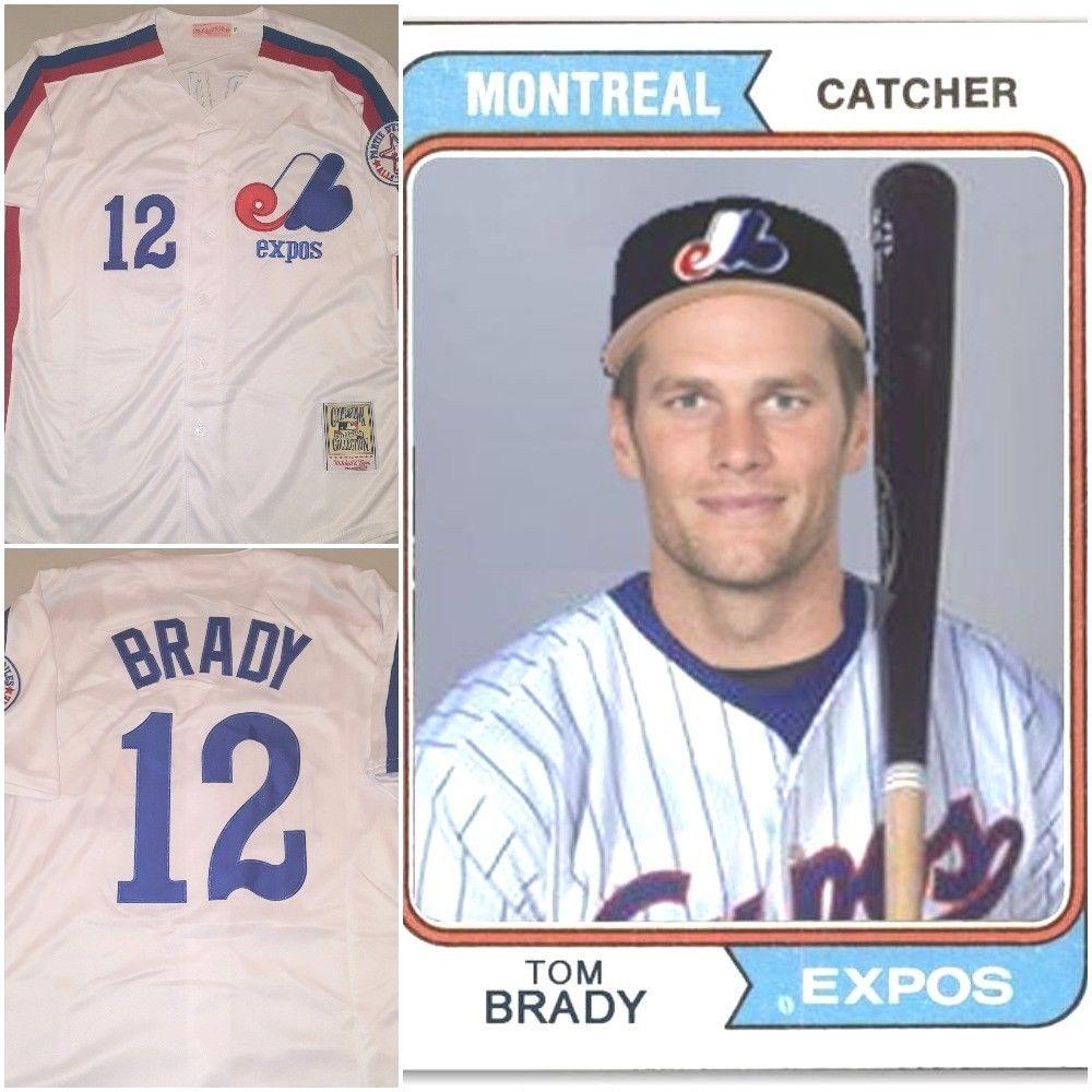 Very Rare Tom Brady 12 Montreal Expos Replica Baseball Jersey White Mens Medium Expos Expos Baseball Baseball