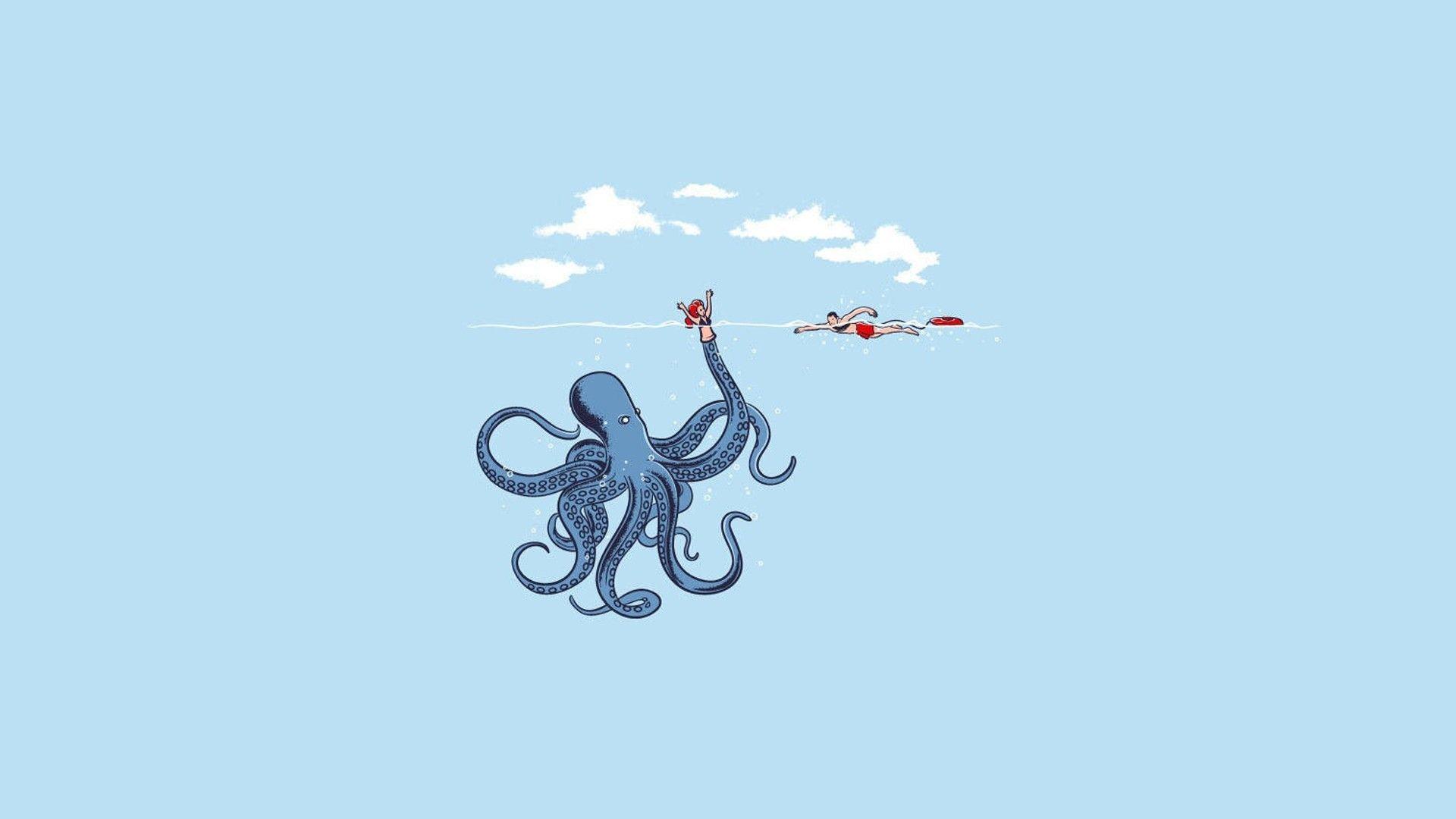 Minimalism Simple Dark Humor Blue Octopus Simple