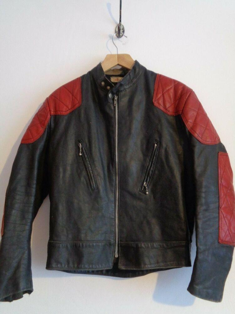 XS vintage small British 70s black red leather cafe racer biker jacket motorcycle campri lewis 80s punk womens rare england kbd mens kett uk