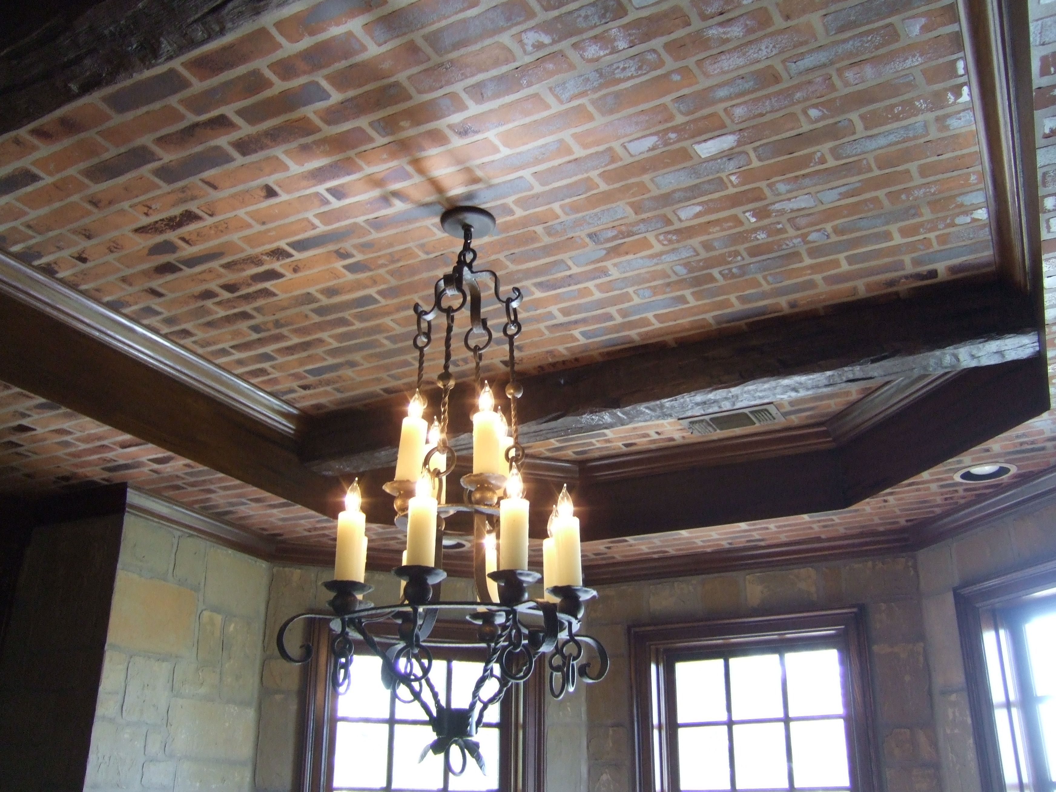 Fake Styrofoam Ceiling Beams: Faux 3-D Brick On Ceiling And Stone On Walls With
