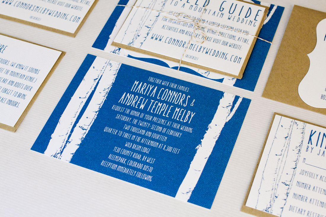 A winter mountain wedding: Blue aspen invitation suite. (With brown ...
