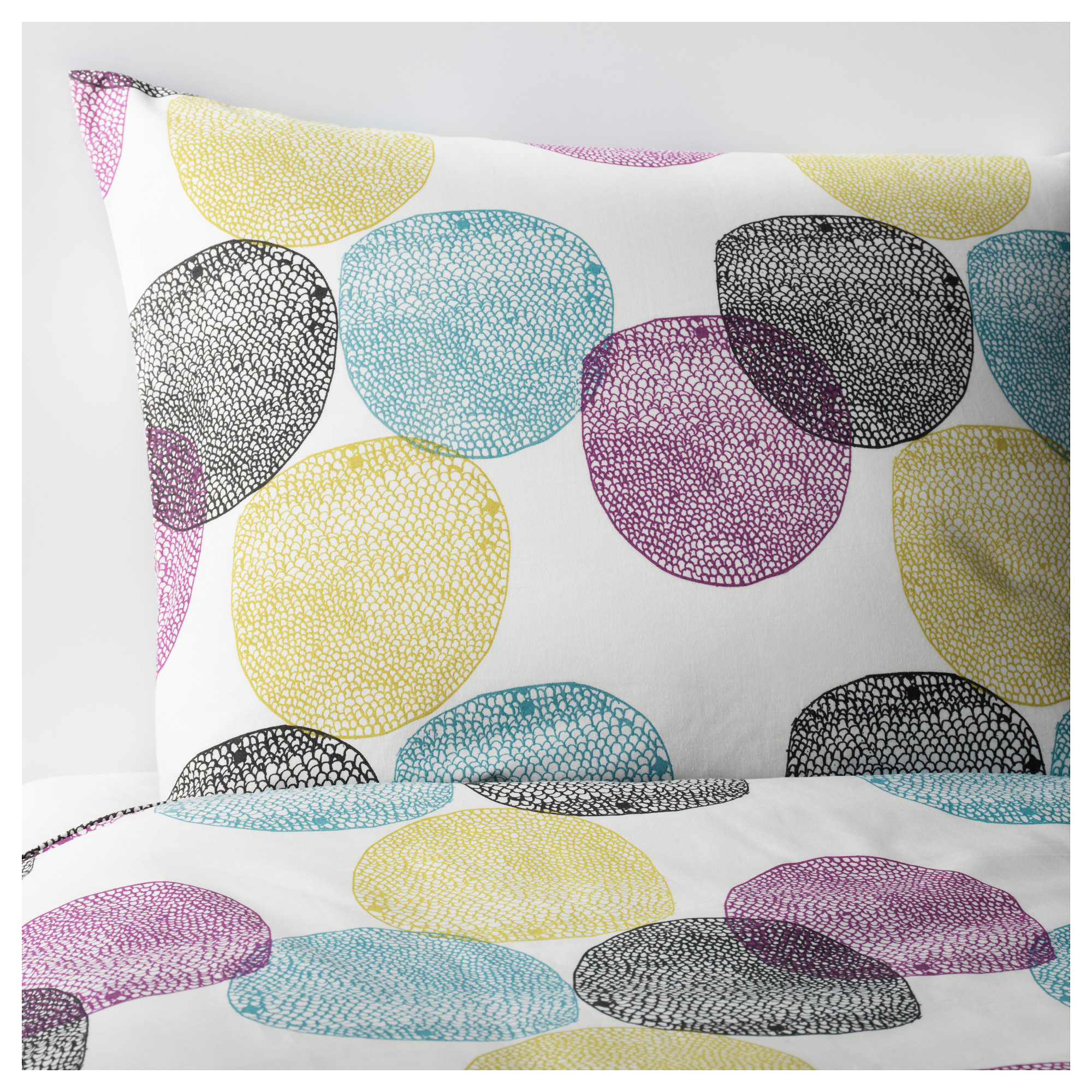 Ikea Malin Rund Quilt Cover And 4 Pillowcases Concealed
