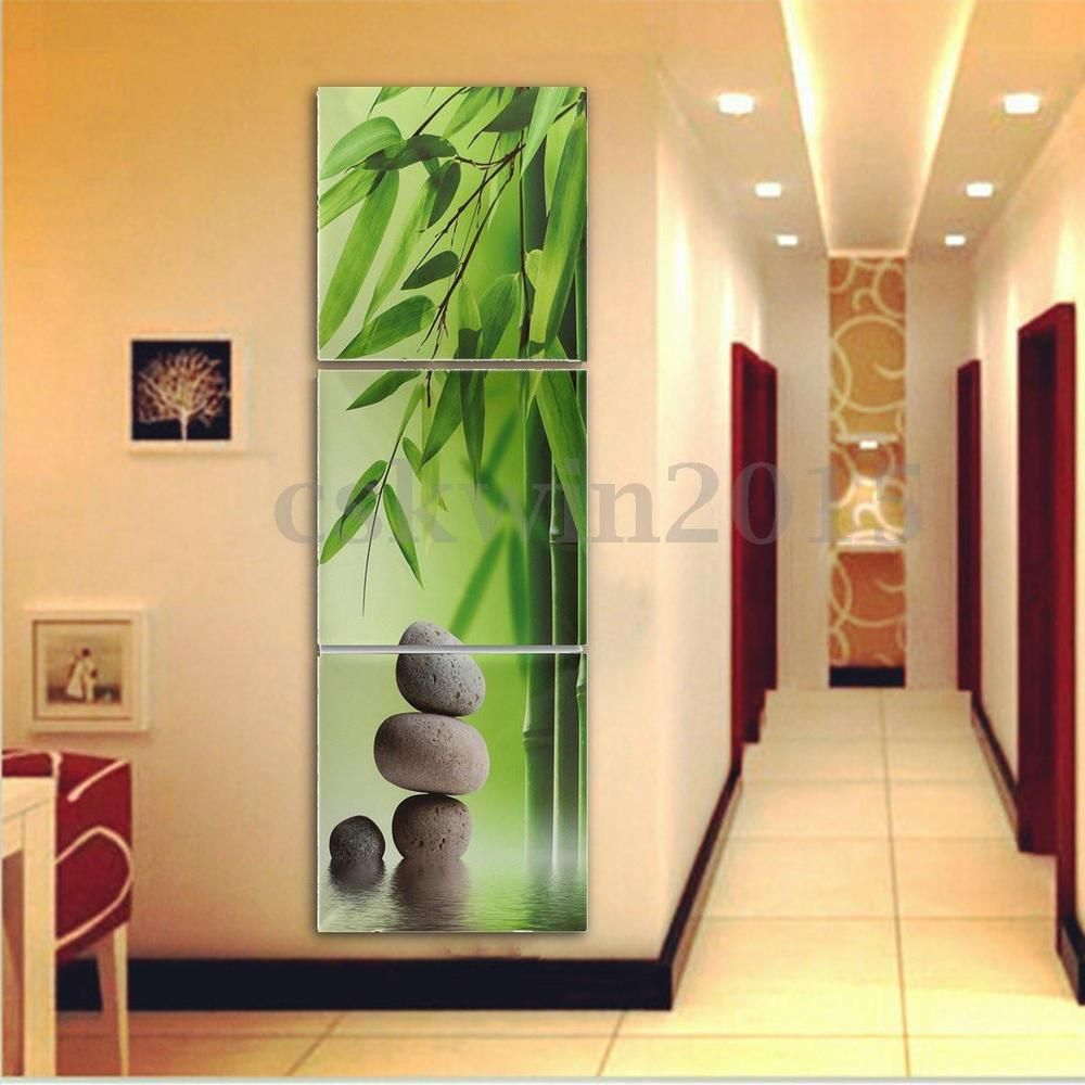 3Pcs Zen Bamboo Stone HD Picture Canvas Painting Modern Art Wall ...