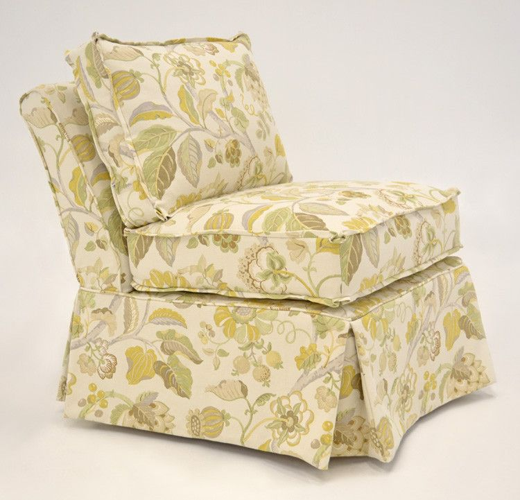 Quatrine Custom Furniture   Harlow Chair Slipcovered In Our Roma  Floral/Creme Fabric. #floral #yellow #slipcover #slipper #chair #armless