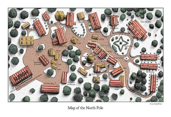 Map of Santa Claus' North Pole by imaginactory on Etsy
