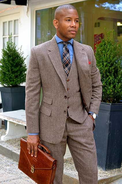 Custom Size Vintage Wool Tweed 3 pcs Tan Khaki Herringbone Slim Fit  Man Suit