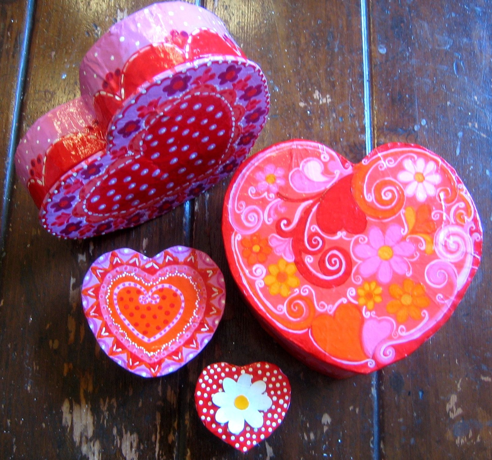 Heart boxes paper mache craft