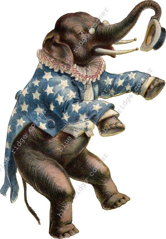 Vintage Circus Carnival Elephant Clip Art Image Elephant Clip Art Circus Elephant Vintage Circus