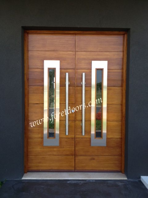 double entry door with stainless steel inserts and bar pulls