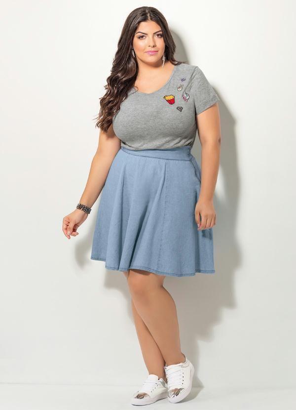 29596737c90 T-Shirt Quintess com Patch (Mescla) Plus Size