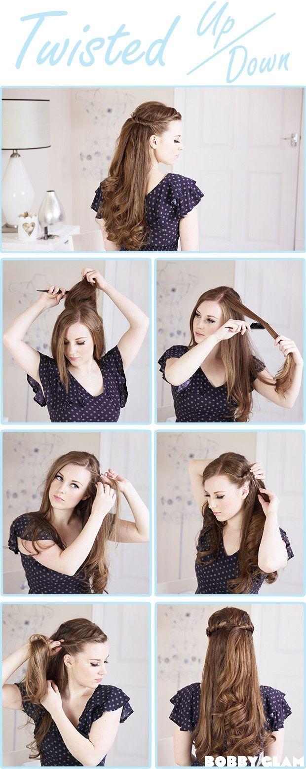 Twisted half up half down hair tutorial peinados pinterest
