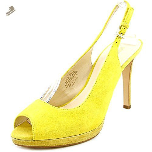 Nine West Women's Emilyna Suede Dress Pump, Yellow Suede, 5.5 M US - Nine