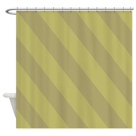 Mossy Green Stripes Shower Curtain
