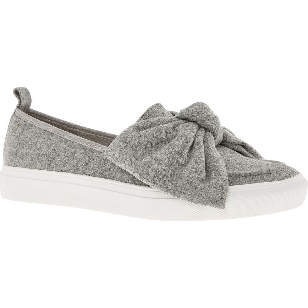 Grey Bow Slip Ons - Trainers - Shoes