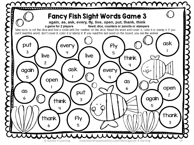 Dolch Sight Words Games First Grade List | Bingo, Dolch sight ...