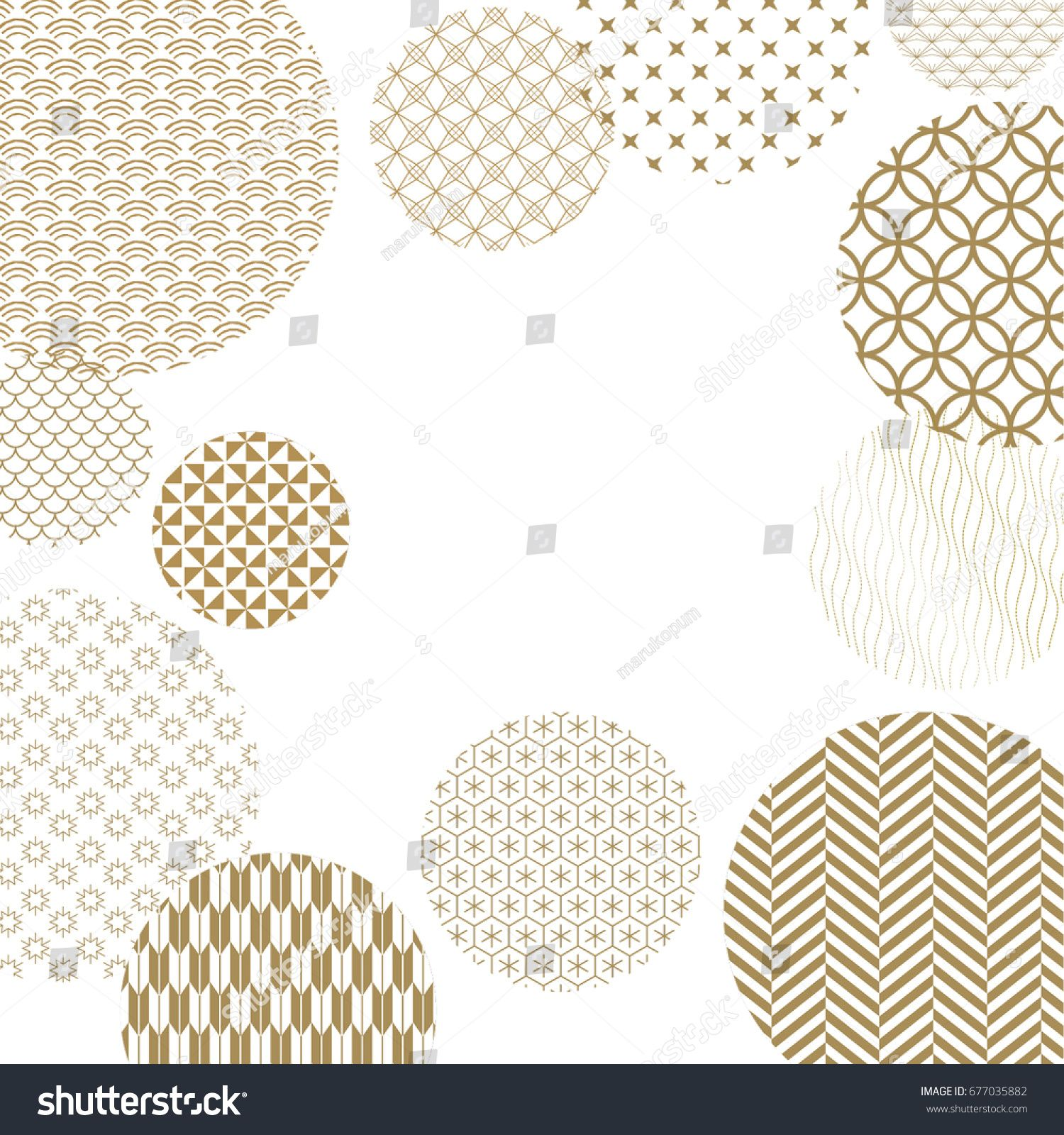 Japanese Pattern Background Vector Gold Geometric Cover Design
