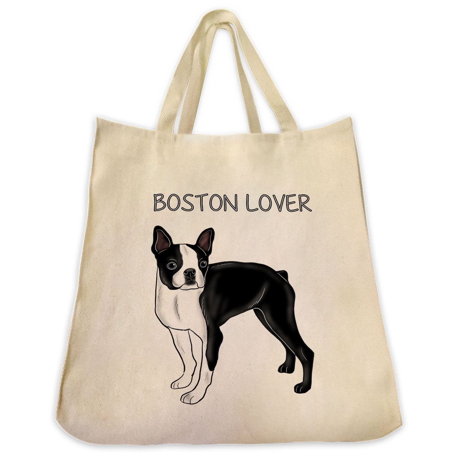 "Black Boston Terrier Color Full Body ""Boston Lover"" Design Extra Large Eco Friendly Reusable Cotton Canvas Tote Bag"