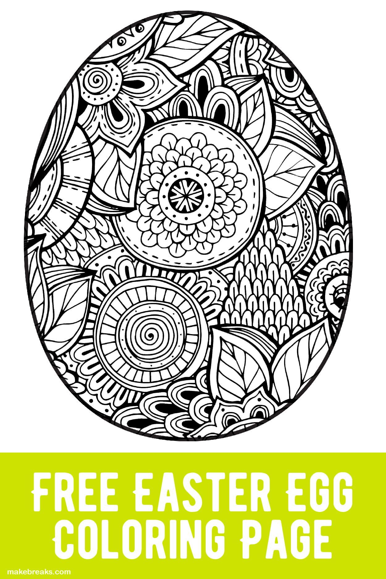 Free Easter Egg Coloring Page Make Breaks Easter Egg Coloring Pages Coloring Easter Eggs Easter Coloring Pages Printable