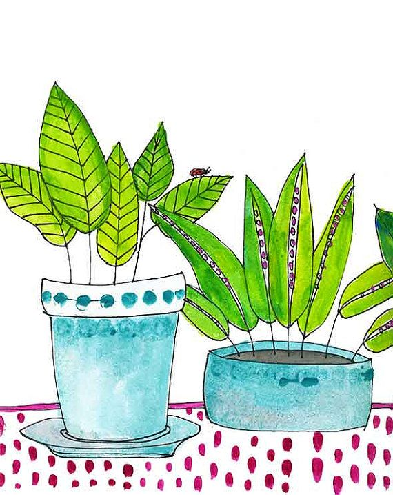Watercolor Print Houseplants Fine Art Kitchen or by blendastudio