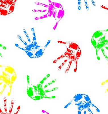 Kids Cache Repeating Tile Handprint Wallpaper Clipart
