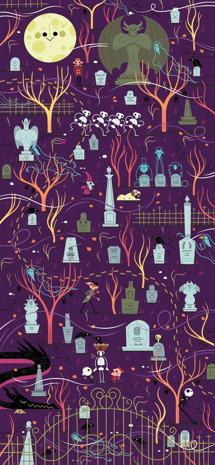 Disney Graveyard Mural by Andrew Kolb. Halloween