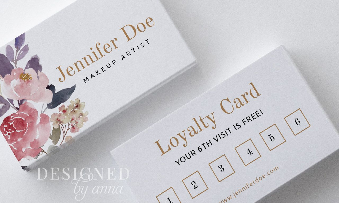 Floral Loyalty Card Design Printable Loyalty Card Template Etsy Loyalty Card Design Loyalty Card Template Card Design