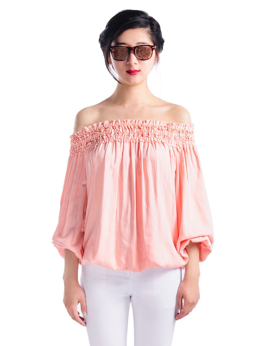 Nude Pink Off Shoulder Long Sleeves Blouse | Choies | Blusas ...