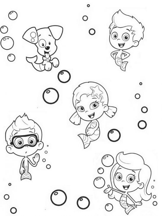 online printable bubble guppies coloring sheet for kids