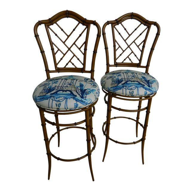 chippendale metal faux bamboo bar stools a pair bamboo bar faux