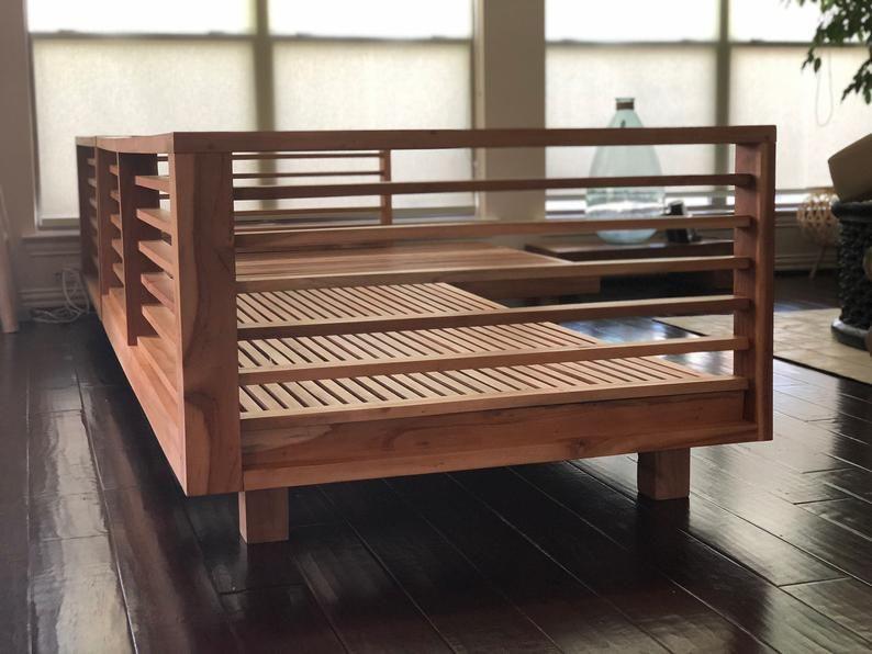 Solid Teak Wood L Shape Patio Sofa Without Cushion In 2020 Wooden Sofa Designs Wooden Sofa Wooden Sofa Set