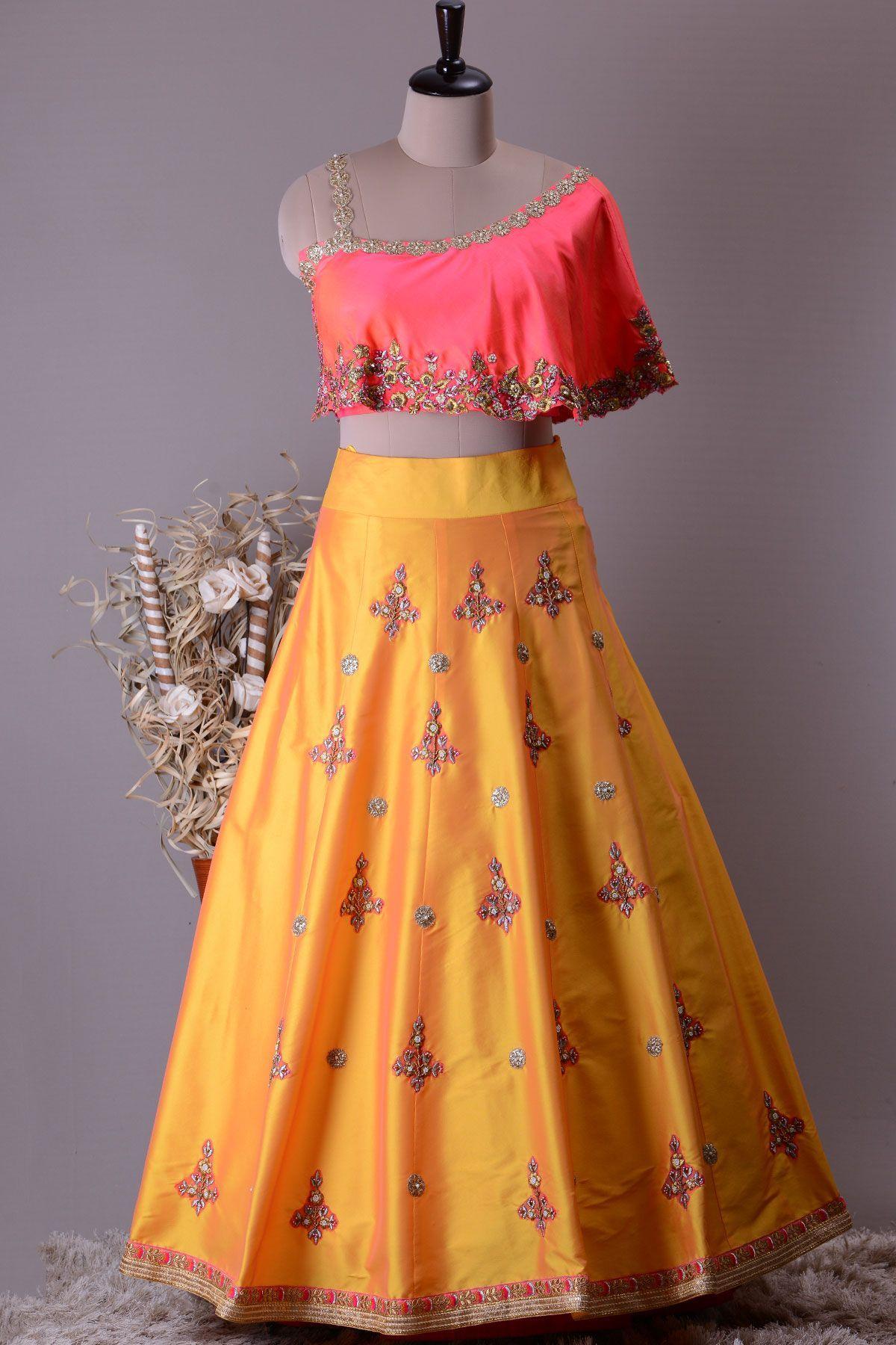 7372907045a Buy Yellow Silk Applique Embroidered Crop Top Lehenga Online   Crop ...