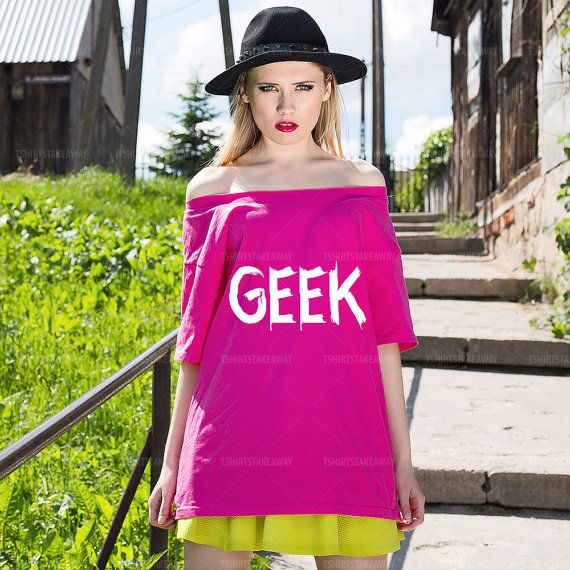 Oversize Off Shoulder T-shirt GEEK Fashion by TshirtsTakeaway