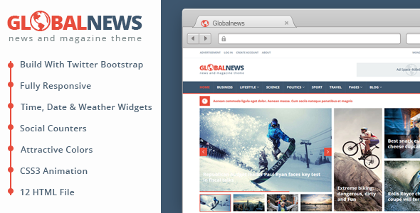 globalnews news magazine html5 template template and magazines