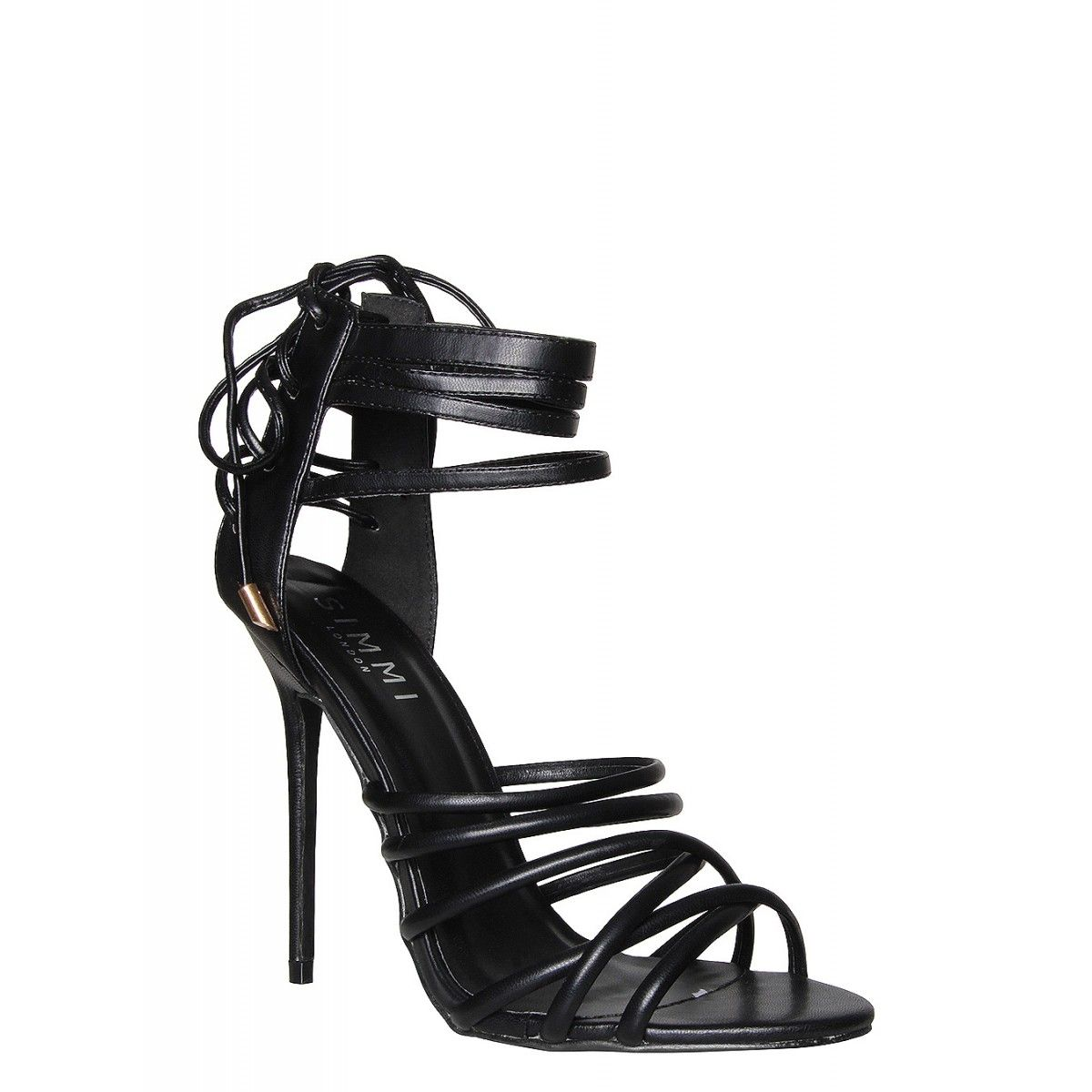 Brooke Black Lace Up Strappy Stiletto Heels : Simmi Shoes