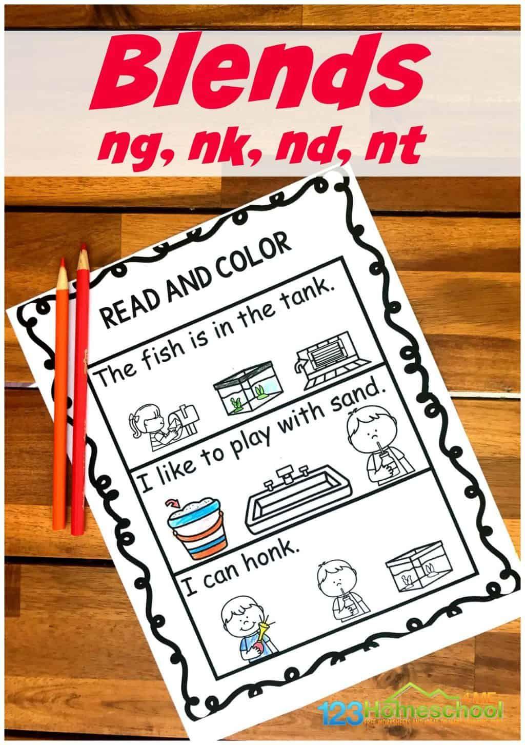 Free Read Amp Color Ending Blend Worksheets In