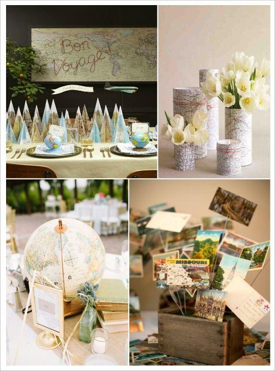 Centre de table mariage voyage d coration diy for Pinterest centre de table