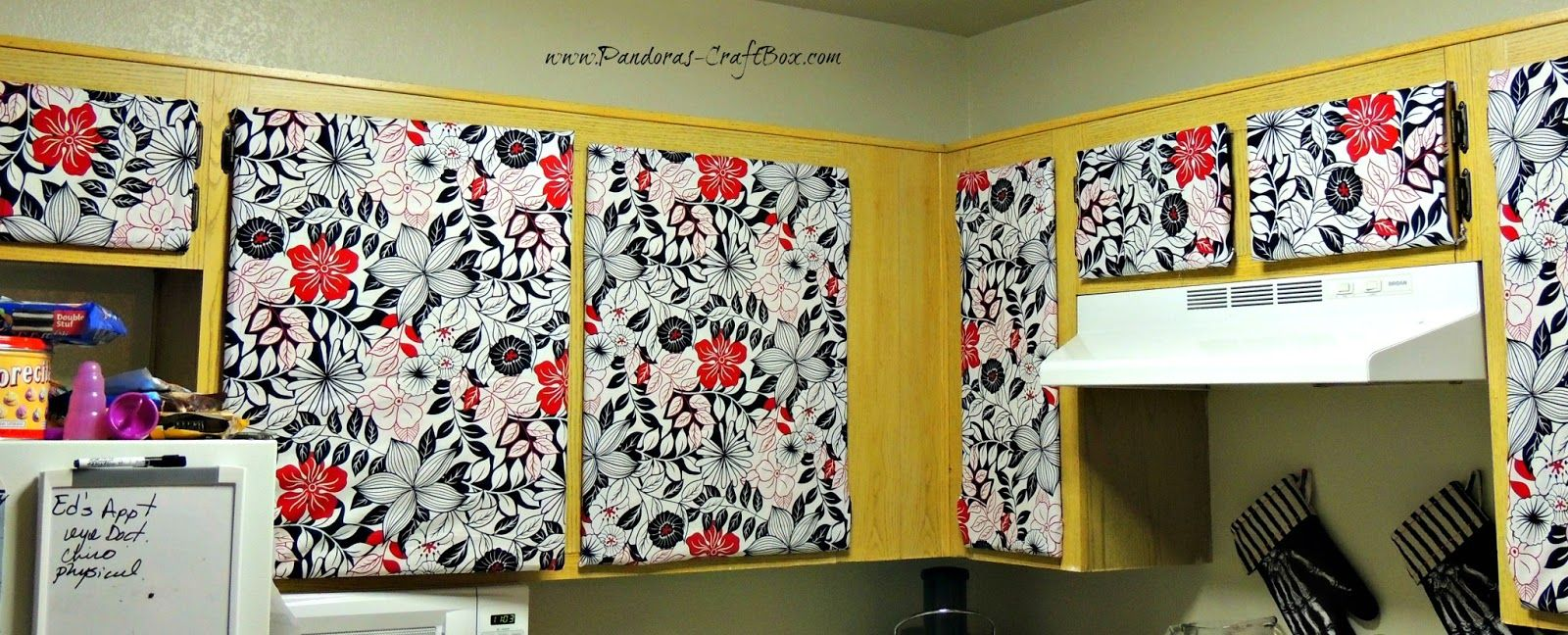 Pandora S Craft Box How To Cover Cabinet Doors With Fabric And