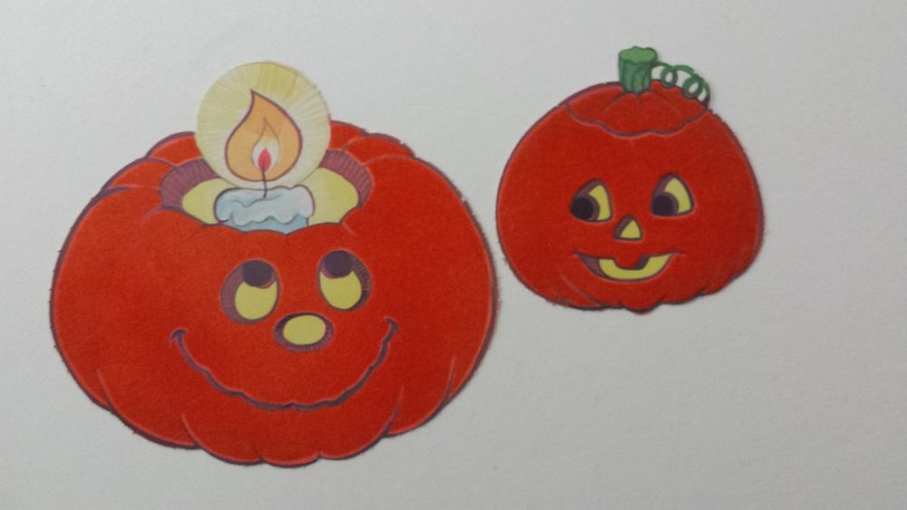 vintage hallmark halloween die cuts fuzzy velvet flocked pumpkins - Hallmark Halloween Decorations