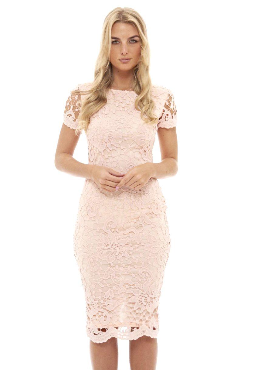 b3917aad5e Women s Pink Crochet Lace Midi Dress - AX Paris USA-Fashion Dresses