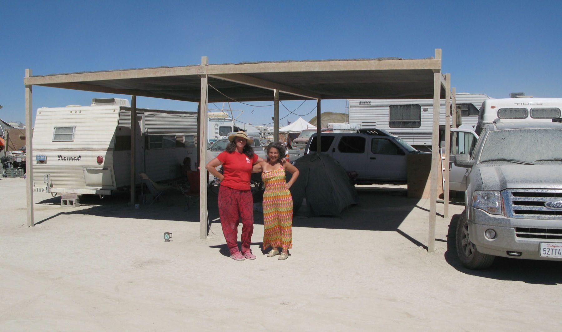 Lightweight 2x4 shade structure at burning man. Carport