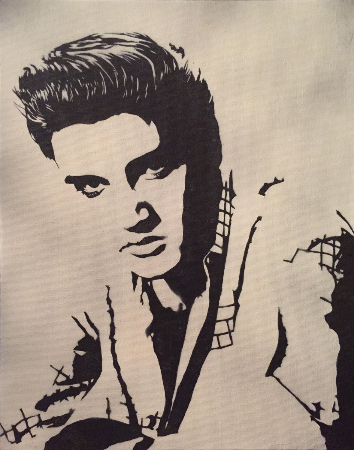 """PRINT - 11""""x14"""" painting 'Elvis' - Original painting of the King of Rock and roll, Elvis Presley, Art, Black and White, B&W by killadeathspray on Etsy"""