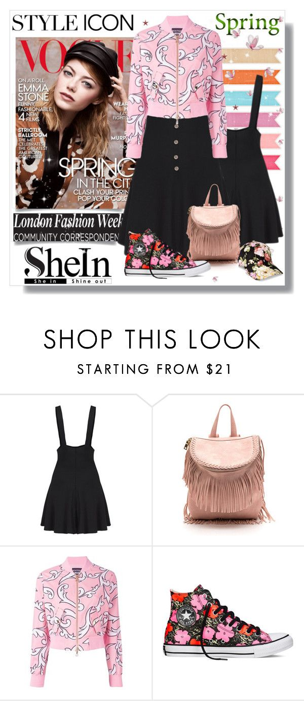 """shein"" by bellamonica ❤ liked on Polyvore featuring Boutique Moschino and Converse"