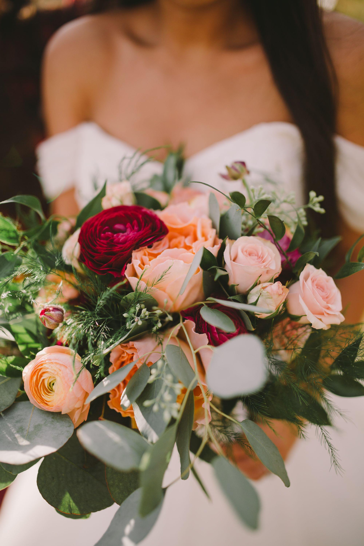 Fall wedding bouquet Blush/ Peach/ Burgundy from Rocky