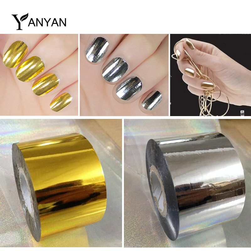 Hot Nail Art Transfer Foil Sticker 1roll 4cmX120m Gold Silver Foils ...